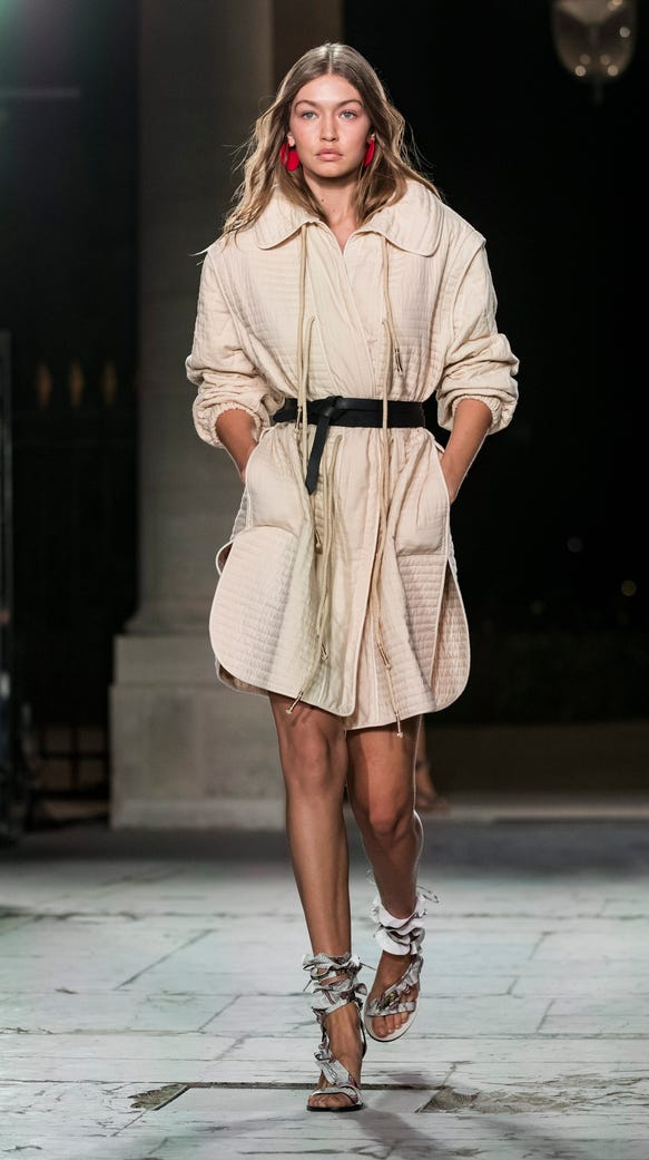 paris week dress looks hadid france epa gigi marant isabel trenchcoat esque wore usatoday local