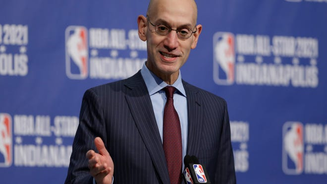 NBA Commissioner Adam Silver announces in Indianapolis, Wednesday, Dec. 13, 2017 that Indianapolis will host the 2021 NBA All-Star game . (AP Photo/Michael Conroy)