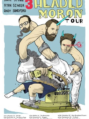 The 3-headed Moron Tour gig poster