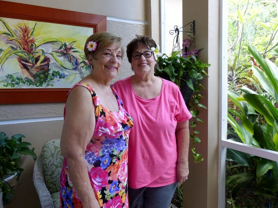 Juliette Lane, 74, left, and Diane Simmons, , inside