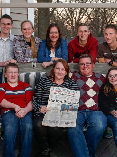 The McCaughey septuplets of Carlisle, Iowa, photographed on the porch of their home on Sunday, Nov. 8, 2015.