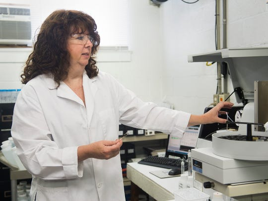 Julie Waddington, technical director of Laboratory, Analytical & Biological Services (LABS), Inc., talks about the water testing process in East Berlin. Waddington tests every sample for lead three times before averaging the results to give a final reading to water suppliers.