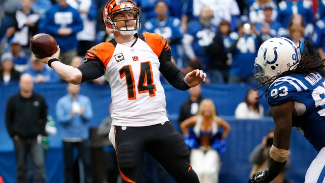 Bengals quarterback Andy Dalton throws against the Colts on Oct. 19.