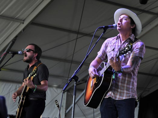 Taylor Burns  and Ricky Young of The Wild Feathers performs at the Bonnaroo Music  & Arts Festival on Thursday, June 12, in Manchester, Tenn.