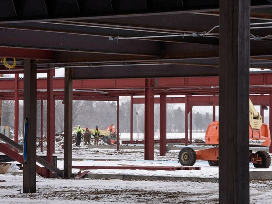 The steel framework for classrooms takes shape at the construction site for the new Sartell High School Tuesday, March 20, in Sartell.