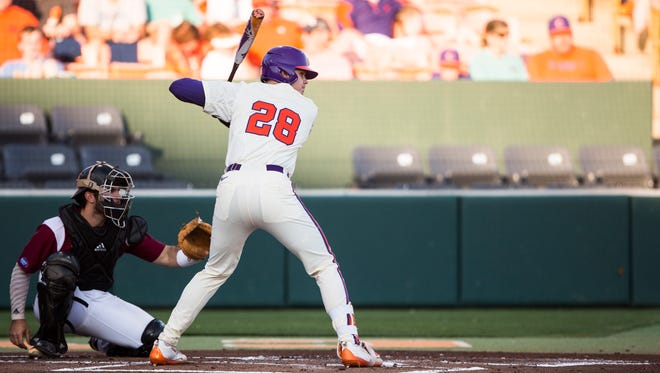 Clemson sophomore Seth Beer waits for a pitch during a game earlier this season.