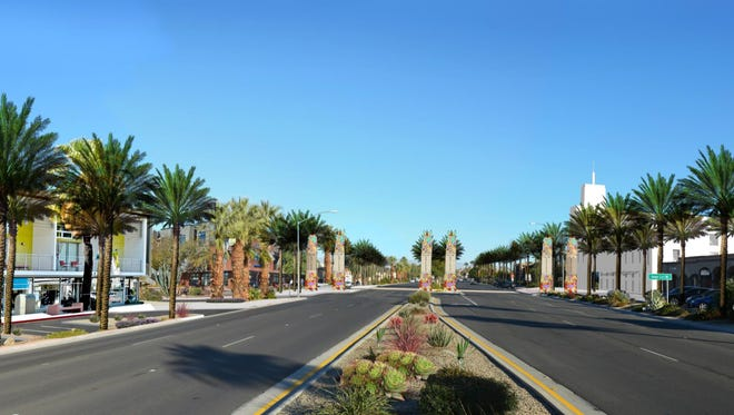 A rendering from the Palm Desert General Plan update calling for some mixed use development along a portion of Highway 111. The city is holding a public forum Monday, giving residents a look at the 20-year development plan before it comes to the City Council for adoption on Nov. 10.