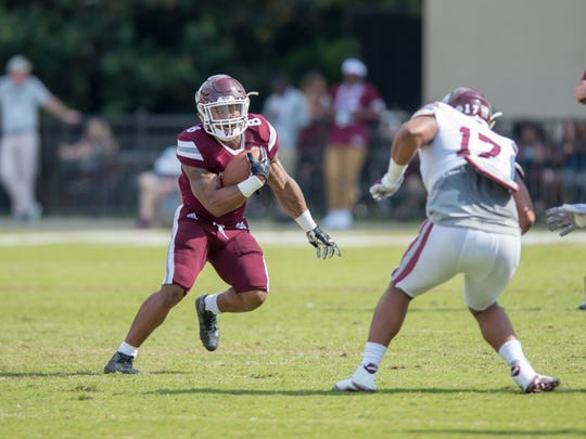 Kylin Hill during the annual Maroon and White game