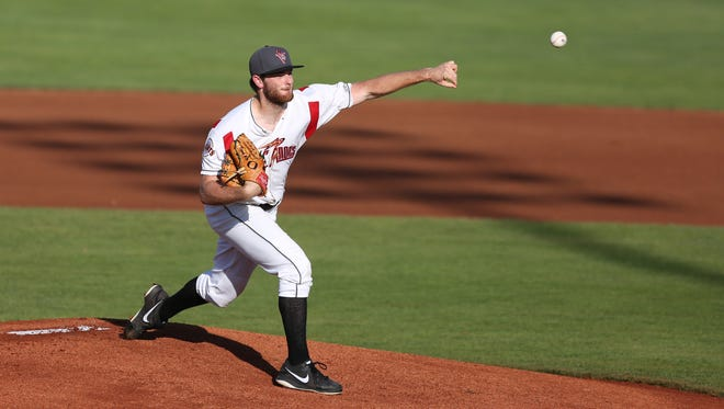 Salem-Keizer's Matt Krook pitches against the Boise Hawks during a game on Tuesday, July 19, 2016, at Volcanoes Stadium in Keizer.