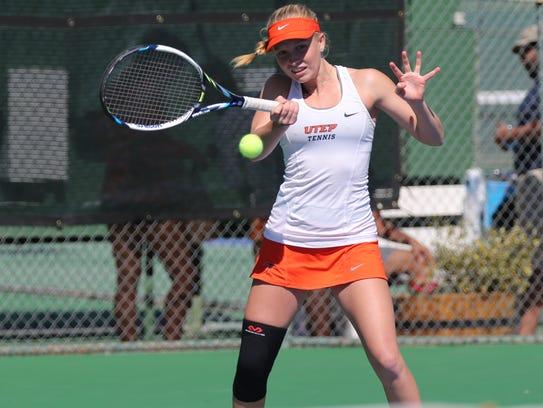 UTEP sophomore Vivienne Kulicke returns a shot in a