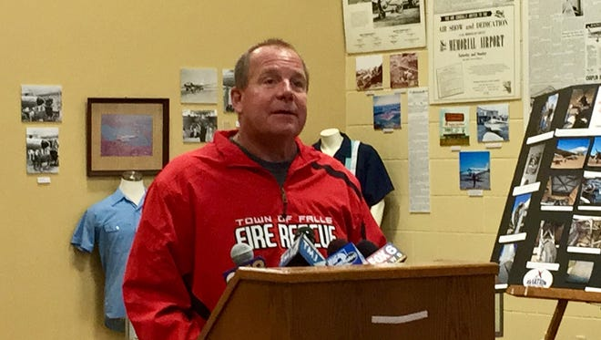 Town of Sheboygan Falls Fire Chief Bob Kroeplien speaks at a press conference at the Aviation Heritage Center in Sheboygan Falls on Saturday, July 21.