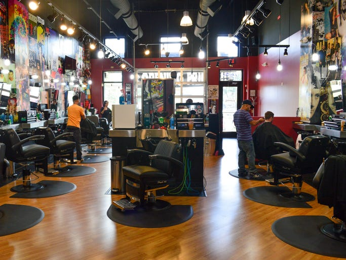 A view from the back of Floyd's 99 Barbershop.
