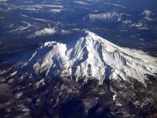 Mount Shasta, a 14,000-foot Northern California volcano,