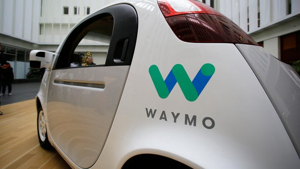 The Waymo driverless car is displayed during a 2016