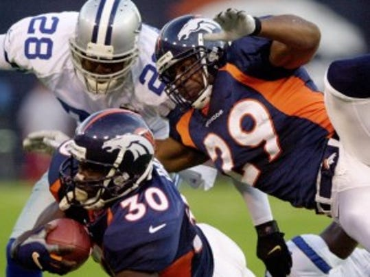 Howard Griffith (29) played 11 seasons in the NFL and won two Super Bowls with the Denver Broncos. (AP)