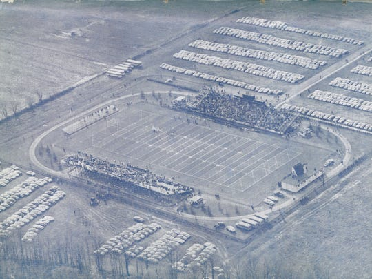 Delaware Stadium in 1955. It opened in 1952. The home, or west, stands are on the top side of the picture.