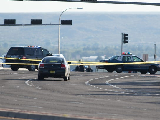 Crime scene tape prevents traffic from entering the