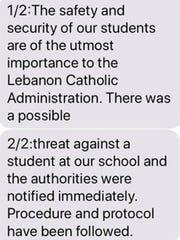 Lebanon Catholic School sent out an alert to parents