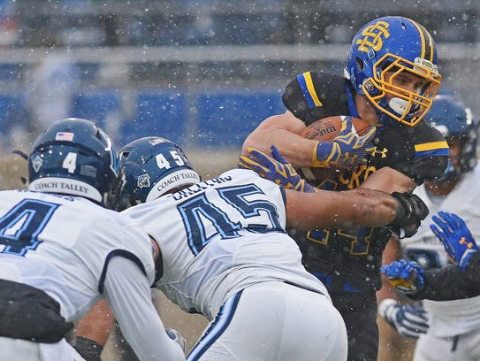 SDSU's Brady Mengarelli (44) carries the ball during