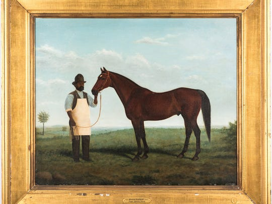 This portrait of thoroughbred Bonnie Scotland and Bob