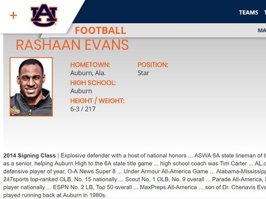 Auburn anticipated then Auburn High senior Rashaan Evans was heading to Auburn. He chose Alabama.