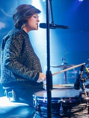 Ivy Schulte, of the pop duo LUX, plays drums and sings
