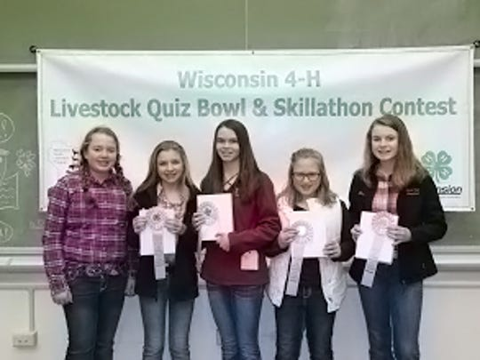 Columbia County 4-H Junior Team – Livestock Quiz Bowl and Skillathon members are pictured (from left) Summer Rake, Ryli Theis, Faith Baerwolf, Macy Cross, and Samantha Rake.