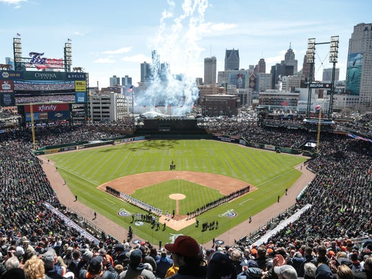 Fireworks go off during opening ceremonies at Comerica Park before the Tigers' 6-5 win over the Red Sox on Friday, April 7, 2017.