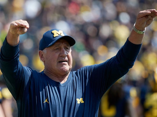 Apr 15, 2017; Ann Arbor, MI, USA; Michigan defensive line coach Greg Mattison during the spring game at Michigan Stadium.
