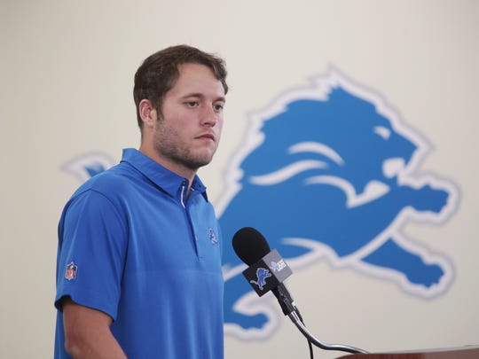 Matthew Stafford speaks during a press conference at