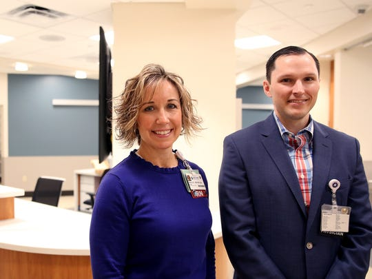 Nancy Bee, the emergency department's nurse manager, and Josh Walterscheid, the emergency department's medical director, stand for a photo near the nurses' station in the Salem Health newly expanded emergency department set to open on Feb. 15. The new area will focus on treating low-acuity patients. Photographed at Salem Health on Wednesday, Feb. 7, 2018.