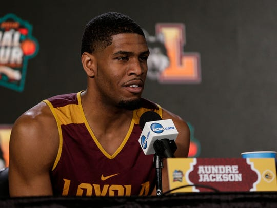 Loyola-Chicago forward Aundre Jackson speaks during a press conference at the Alamodome on Friday.