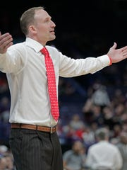 Illinois State head coach Dan Muller reacts to a call during the second half of an NCAA college basketball game against Southern Illinois in the semifinals of the Missouri Valley Conference tournament, Saturday, March 3, 2018, in St. Louis. (AP Photo/Tom Gannam)