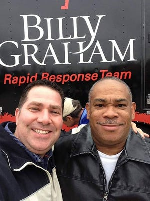 Vineland Police Officer Jason Scalzi (left) pictured with his colleague, Sgt. Baron McCoy, during a Billy Graham Rapid Response Team outreach.