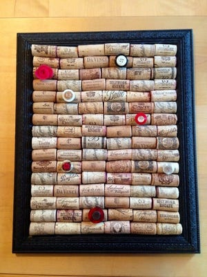 Meg Karetny of Cherry Hill specializes in upcycling. She made this cork board using a frame and old wine corks.