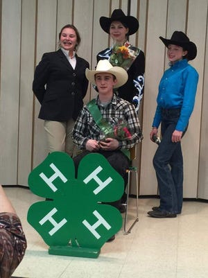Cumberland County 4-H Equestrian of the Year 2016 Jacob Newkirk (seated) is pictured with (standing, from left) Jillian Tozer, first runner-up; Dominique Crawford, second runner-up; and Jenna Killeen, Junior Equestrian of the Year.