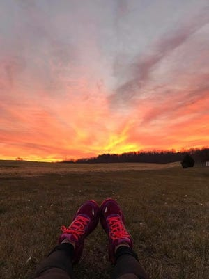 Nicole Albright enjoys her view after a run in Shippensburg.