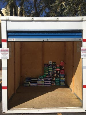 An 8-foot by 8-foot storage PODS the Alchemist Theater and Northern Nevada HOPES wants to fill with feminine products.