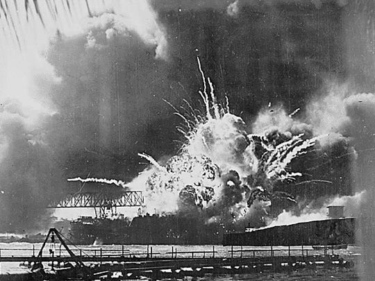 The destroyer USS Shaw's magazine exploded after being bombed by Japanese aircraft in the sneak attack on Pearl Harbor on Dec. 7, 1941.
