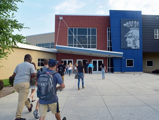 CASHS students arrive for classes Thursday morning,