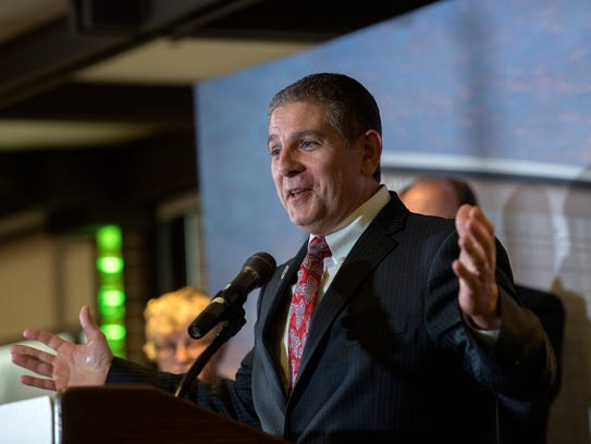 Then-Lansing Mayor Virg Bernero speaks during a December 2017 press conference. Former State Representative Andy Schor became mayor on Jan. 1, 2018 after Bernero did not seek another four-year term.