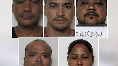 John Acfalle Taitano, George Carlos Flores, Robert Afaisen, Jonathan Manglona and Monica Quinata are shown in this combined photo.