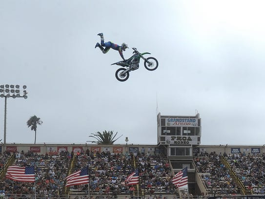 Nick Dunne performs at the Flying Cowboyz FMX motorcycle