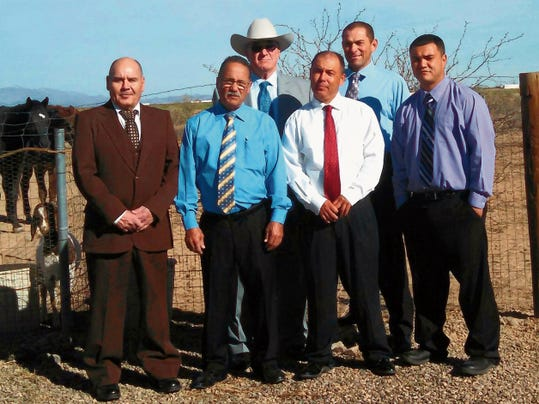 Courtesy Photo   Members of the Agape Outreach and Recovery Ranch in Deming are, from left, Alberto Ortega Victor Gomez, Pastor George Gillispie, David Amaya, Thomas Soto and Jake Gaston. The ranch is headed by Gillispie, pastor for the Redeemer Apostolic Church in Deming.