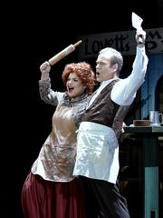 "Jenni Bank starred as Mrs. Lovett alongside Philip Cutlip in the Tri-Cities Opera production of ""Sweeney Todd"" in 2016."