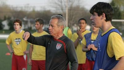 Brighton native Dave Sarachan, shown here coaching at a youth club practice in 2008 at Roberts Wesleyan College, is an associate head coach for the MLS champion L.A. Galaxy.
