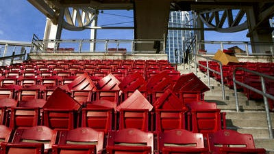 Rows of seats at Great American Ball Park wait to be replaced.