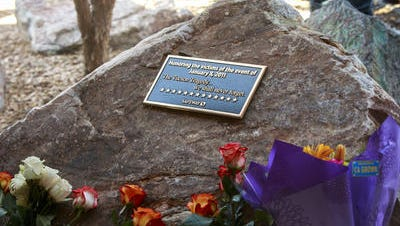 Memorial plaque outside the Safeway in north Tucson where shooting occurred in 2011.