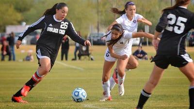 Forward Natalie Stephens (26) of Anthem Boulder Creek is among six Arizonans signing with ASU soccer on Wednesday.