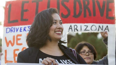 """Dulce Matuz of the Arizona Dream Act Coalition celebrates in December an appellate court ruling in the """"dreamers"""" driver's license case."""